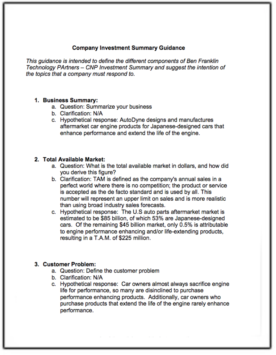 2-Page Investment-Summary-Guidance